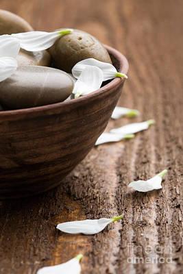 Wooden Bowl Photograph - Massage Stones  by Kati Molin