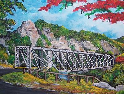 Flamboyan Tree Painting - Mata De Platano Bridge by Jose Lugo