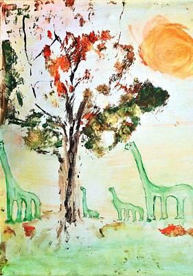 Painting - Matei's Dinosaurs by Evelina Popilian