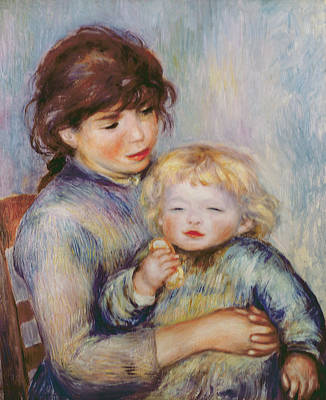 Maternity Wall Art - Painting - Maternity Or Child With A Biscuit by Pierre Auguste Renoir