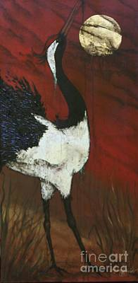 Stork Mixed Media - Mating Calll II by Audrey Sullivan