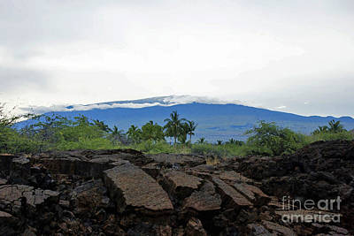 Mauna Kea With Lava In Foreground Art Print by Bette Phelan