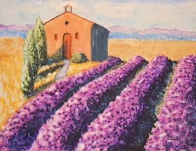 Mausoleum And Lavender Print by Ann Sokolovich