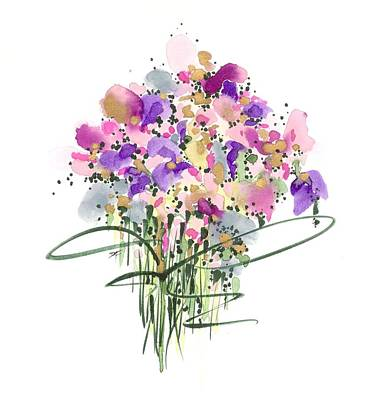 Drawing - Mauvey Bouquet by Darlene Flood