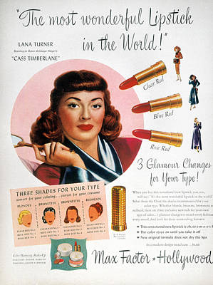 Endorsement Photograph - Max Factor Lipstick Ad by Granger