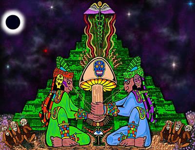 Solar Eclipse Mixed Media - Maya Mystic Moon by Myztico Campo