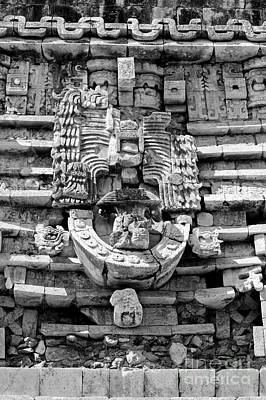 Photograph - Mayan Architectural Details At Uxmal Mexico Black And White by Shawn O'Brien