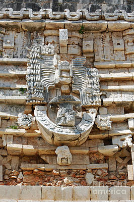 Photograph - Mayan Architectural Details At Uxmal Mexico by Shawn O'Brien