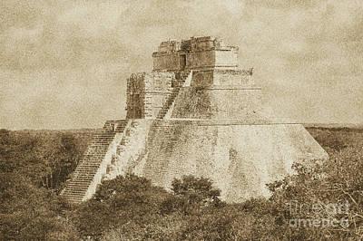 Digital Art - Mayan Pyramid Of The Magician At Uxmal Mexico Vintage by Shawn O'Brien