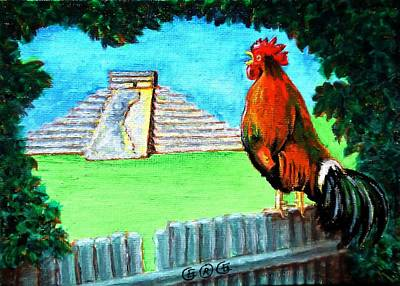 Painting - Mayan Rooster by George I Perez