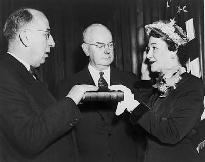 Swearing In Photograph - Maybelle Kennedy Being Sworn by Everett