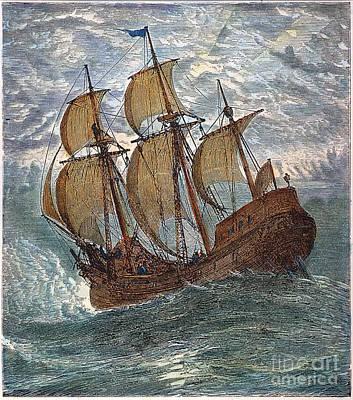Mayflower At Sea, 1620 Art Print by Granger