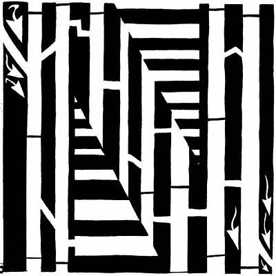 Frimer Drawing - Maze Of The Letter N by Yonatan Frimer Maze Artist