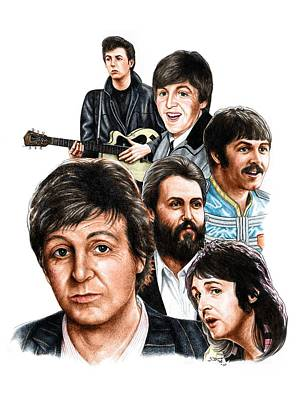 British Invasion Drawing - Mccartney - Heart Of The Band  by Jonathan W Brown