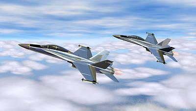 Digital Art - Mcdonnell Douglas F-18 Hornet by Walter Colvin