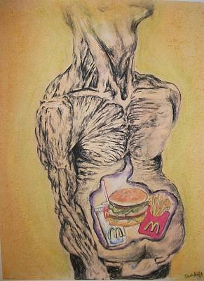 Mcdonalds Drawing - Mcdouble Trouble by Ashley Henry