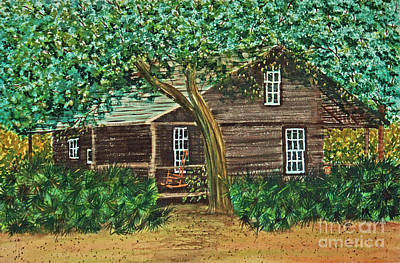 Painting - Mcmullen-coachman Log House by Terri Mills
