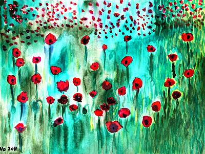 Painting - Meadow With Poppies by Valerie Ornstein