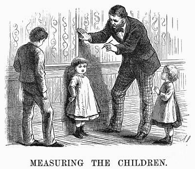 Measuring Children, 1876 Art Print by Granger