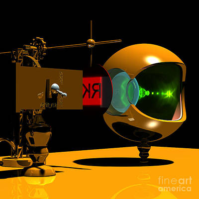Digital Art - Mechanical Oculist Red by Russell Kightley