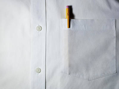Button Down Shirt Photograph - Mechanical Pencil In White Shirt Pocket. by Ballyscanlon