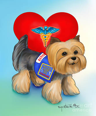 Mixed Media - Medical Alert Yorkie by Catia Cho