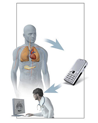 Medical Monitoring Using A Mobile Phone Art Print by Claus Lunau