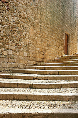 Wall Photograph - Medieval Stone Steps With One Doorway At The Top. by Tracy Packer Photography
