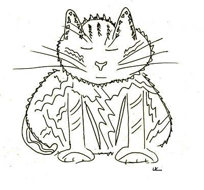 Wall Art - Drawing - Meditation Cat by Lori Kirstein