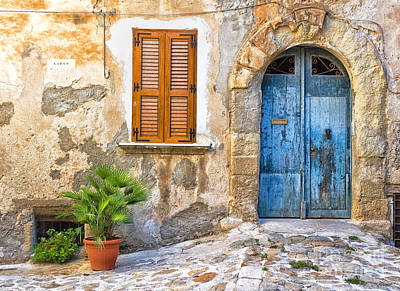 Mediterranean Door Window And Vase Art Print