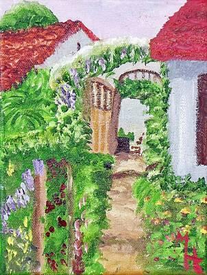 Art Print featuring the painting Mediterranean Walkway by Margaret Harmon
