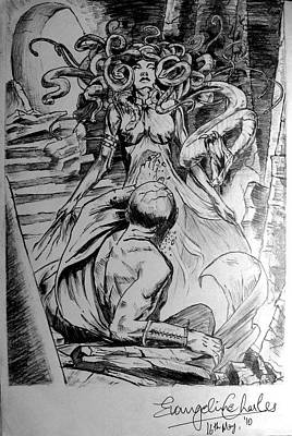 Gorgon Drawing - Medusa by Evangeline Charles