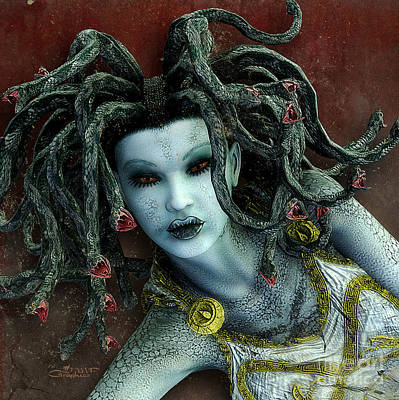 Gorgon Digital Art - Medusa by Jutta Maria Pusl