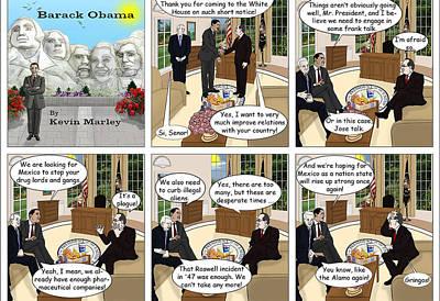 Obama 2012 Digital Art - Meeting Calderon by Kevin  Marley