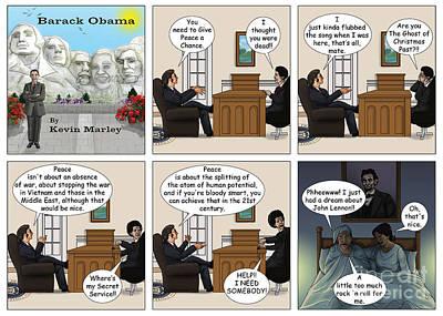 Obama 2012 Digital Art - Meeting John Lennon by Kevin  Marley