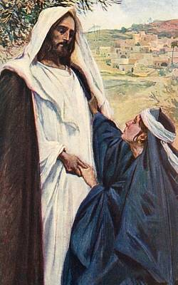 Corwin Painting - Meeting Of Jesus And Martha by Corwin Knapp Linson