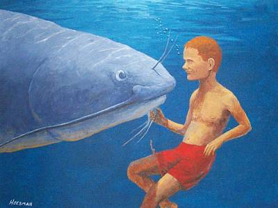 Meeting With The Giant Catfish Art Print by John Hoesman