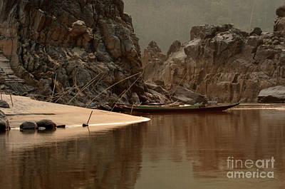 Boat Along The River Photograph - Mekong Landscape Laos by Bob Christopher