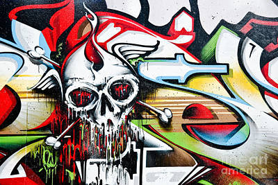 Grunge Skull Painting - Melting Death by Yurix Sardinelly