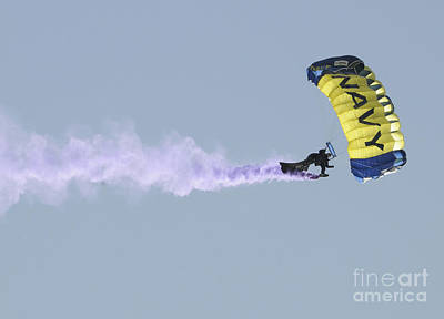 Leap Frog Photograph - Member Of The U.s. Navy Parachute by Stocktrek Images