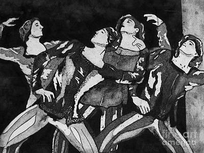 Etching Mixed Media - Men In Tights by Colleen Kammerer