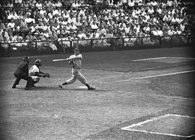 Men Playing Baseball, (b&w), Elevated View Art Print by George Marks