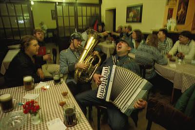 Men Sing Satirical Songs Of Austrias Art Print by James L. Stanfield