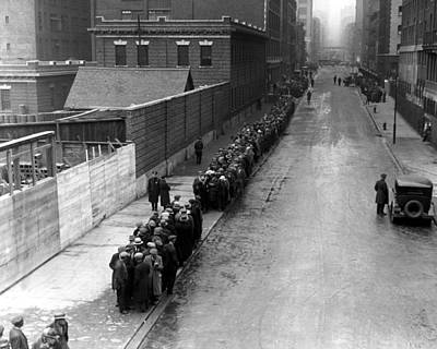 Bread Line Photograph - Men Wait In Line For Food On East 25th by Everett