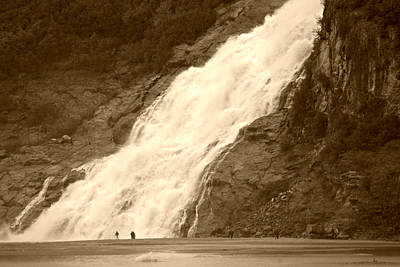 Photograph - Mendenhall Glacier Nugget Falls Sepia by Marilyn Wilson