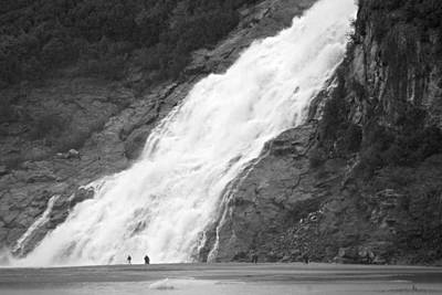 Photograph - Mendenhall Glacier Nugget Falls Waterfall Bw by Marilyn Wilson