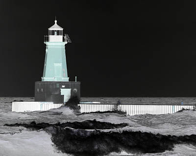 Photograph - Menominee Lighthouse Negative by Mark J Seefeldt
