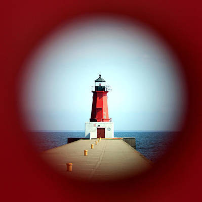 Photograph - Menominee Lighthouse Through A Rivet Hole by Mark J Seefeldt
