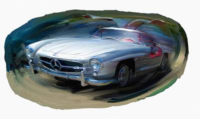 Digital Art - Mercedes Gullwing by RG McMahon