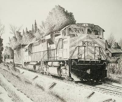 Kansas City Drawing - Meridain Speedway by Chris Shepherd